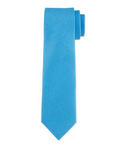 Solid Silk-Blend Tie, Blue