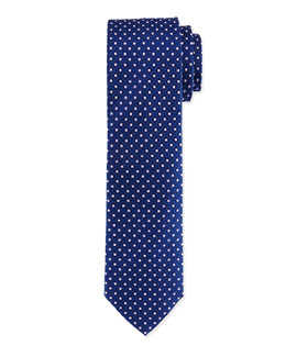 Venn Circle Silk Tie, Blue/Pink
