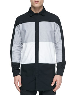Colorblock Oversized Shirt, Black/Gray/White