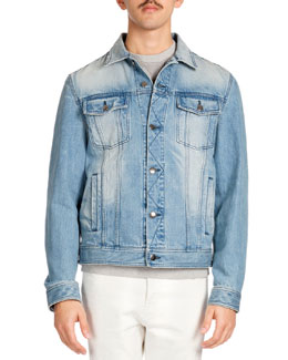 Washed Denim Jacket, Blue