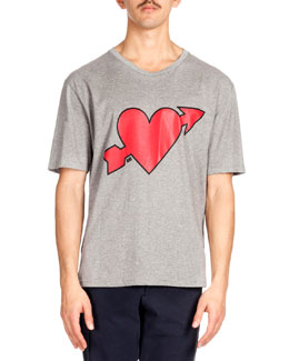 Heartbreaker-Print Tee, Heather Gray