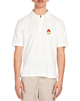 Smiley Patch Short-Sleeve Polo, White
