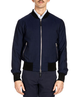 Wool Bomber Jacket, Navy