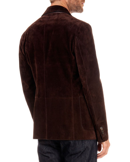 Suede Two-Button Jacket, Chocolate