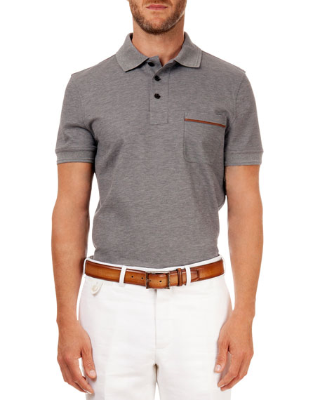 Polo with Leather Detail, Gray