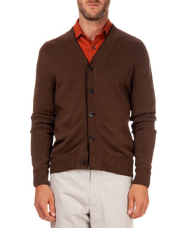 Cardigan with Leather-Placket