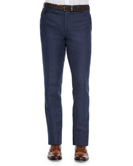 Linen-Cotton Blend Flat-Front Trousers, Notte