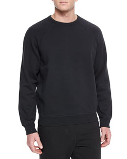 Washed Cotton Crewneck Sweatshirt, Black