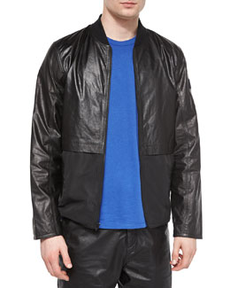 Leather/Nylon Mix Bomber Jacket, Black