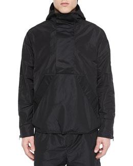 Nylon Hooded Pullover, Black