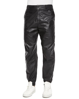 Leather/Nylon Mix Track Pants, Black