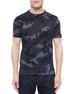 Dark Camo-Print Tee, Navy