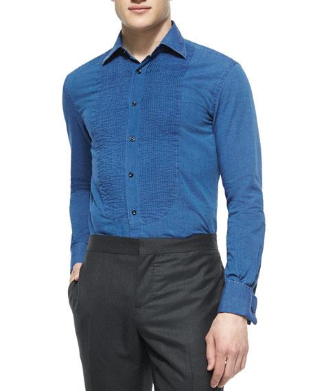 Pleated-Front Denim Tuxedo Shirt, Blue