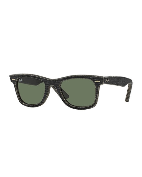 Black Denim Textured Wayfarer Sunglasses, Black