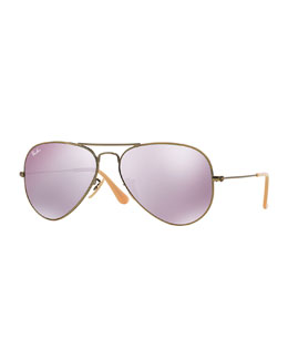 Aviator Mirror Sunglasses, Lilac