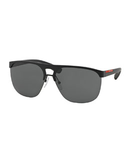 Metal-Rubber Aviator Sunglasses, Black