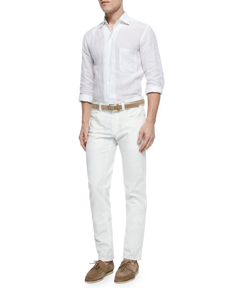 Four-Pocket Cotton/Linen Trousers, White