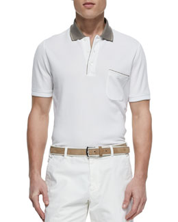 Regata Contrast-Collar Polo, White