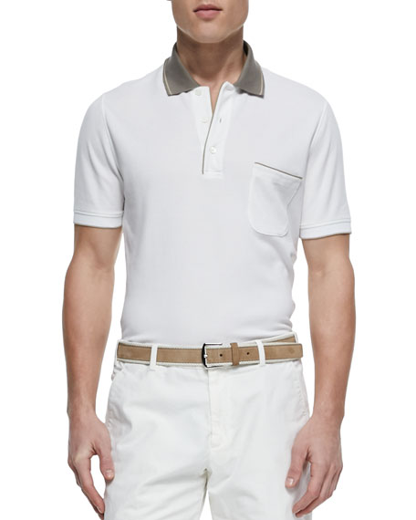 Loro Piana Regata Contrast-Collar Polo, White
