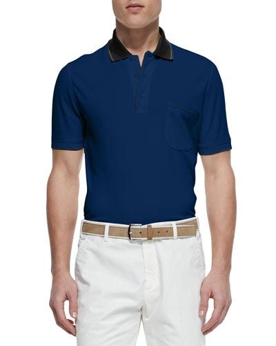 Regatta Contrast-Collar Pique Polo, Twilight Blue/Black