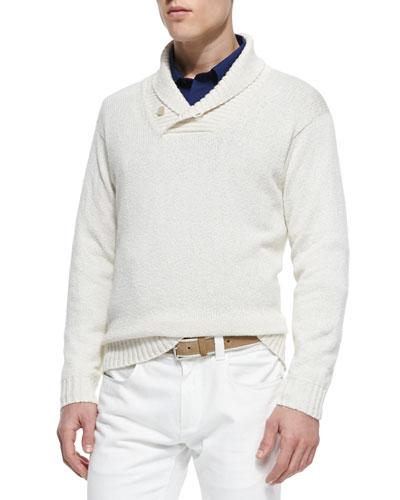 Shawl-Collar Pullover Sweater, Cream