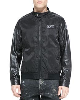 Nylon Bomber Jacket, Black