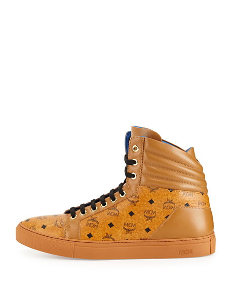Monogrammed High-Top Sneaker, Cognac
