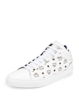 Monogrammed Low-Top Sneaker, White
