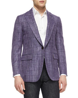 Tweed One-Button Jacket, Purple