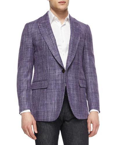 Tweed One-Button Jacket, Purple
