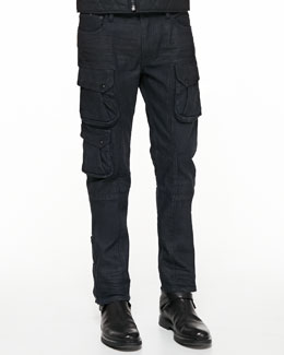 Courier Slim-Fit Cargo Jeans, Navy