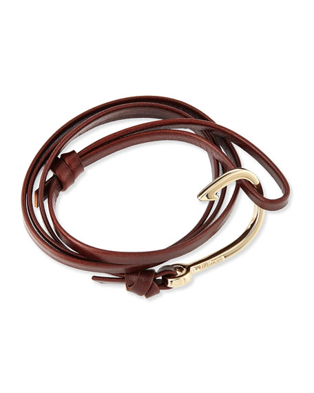 Miansai Hook Leather Bracelet, Brandy