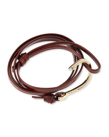 Hook Leather Bracelet, Brandy