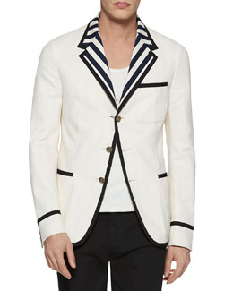 New Palma Solid-to-Stripe Reversible Jacket, Cream
