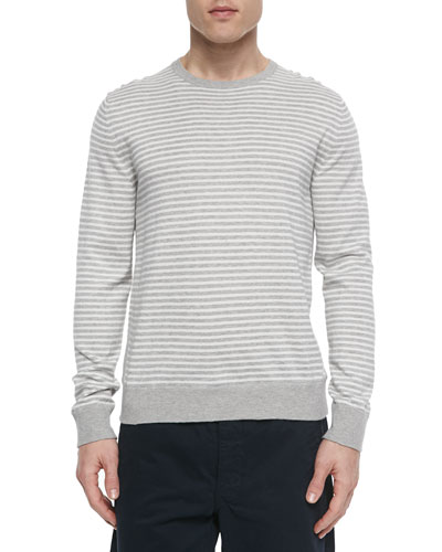 Frederic Striped Woven Crewneck Sweater