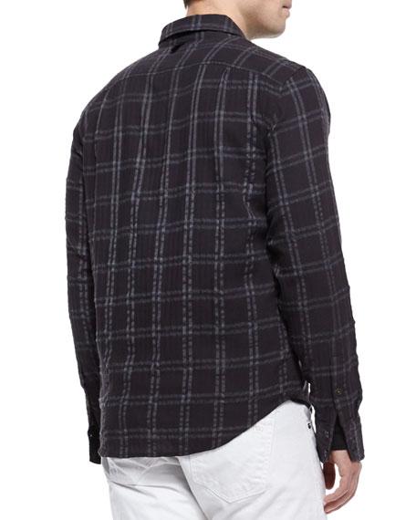 Placket Plaid Shirt, Black