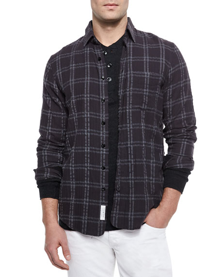 Placket Plaid Shirt, Black