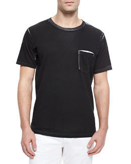 Kyle Garment-Pattern Jersey Tee, White/Black