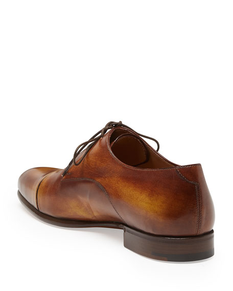 Gaspard Slash-Toe Leather Shoe, Brown