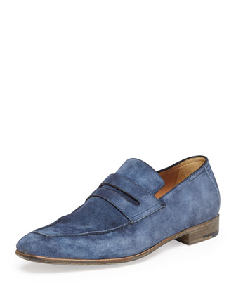 Berluti Andy Suede Penny Loafer, Blue