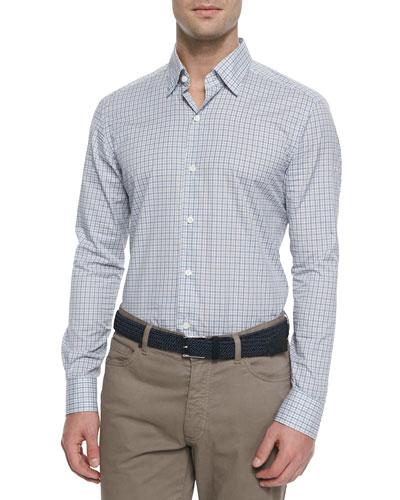 Woven Box Check Sport Shirt, Taupe