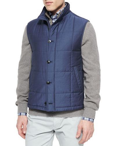 Cashmere-Blend Button-Down Vest, Navy