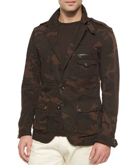 Camo-Print Field Jacket, Brown