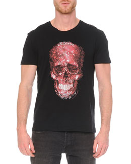 Short-Sleeve Skull Graphic T-Shirt, Black