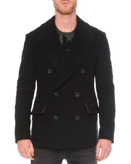 Leopard Jacquard Wool Peacoat, Black