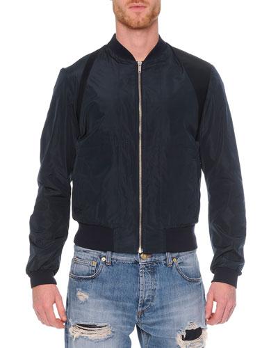 Harness Zip Bomber Jacket, Navy