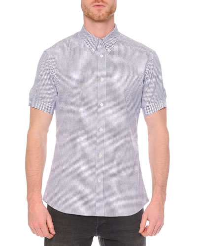 Check-Print Button-Down Shirt, White/Blue