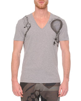 V-Neck Printed Tee, Gray