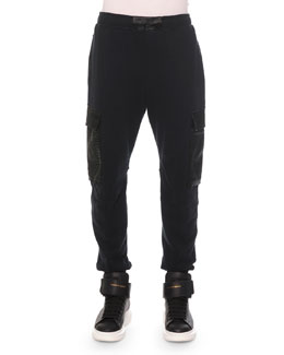 Python-Print Cotton Cargo Sweatpants, Black