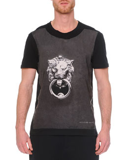 Crewneck Graphic Print T-Shirt, Black